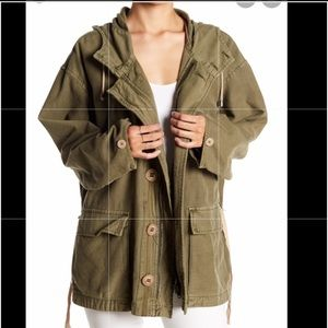 Free People Utility Jacket With Hood Small Tan